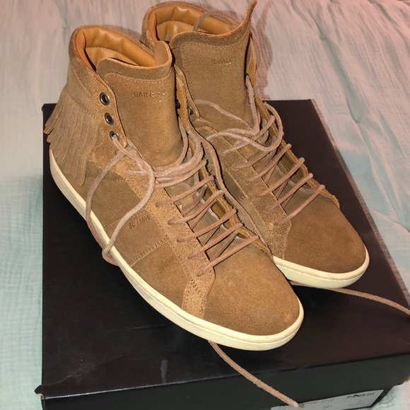 aa6c95c4593 Yves Saint Laurent Shoes | Ysl Suede Fringed Low Top Sneakers ...